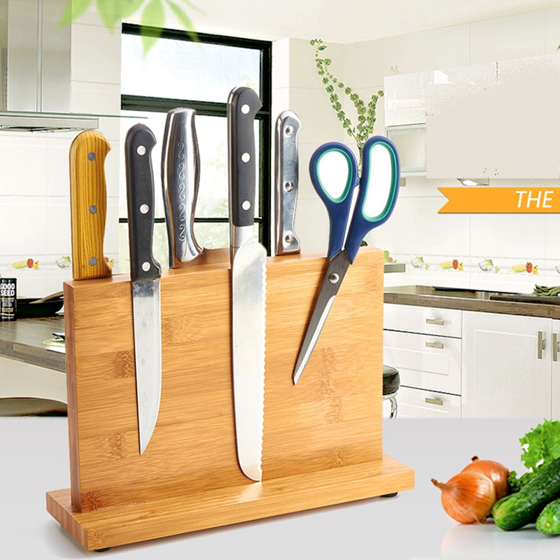High Quality Creative Magnetic Knife Holder Bamboo Nonporous Clean Health Knife Rack Kitchen Bar Storage Block Knife Block