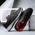 2017 Del Otoño Del Resorte de Los Hombres Con Cordones de Zapatos de Hombre de Alta Calidad de Microfibra Zapatos Casuales Negro Rojo 39-44