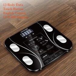 Gorąca angielska wersja elektroniczny inteligentny wagi łazienka tłuszczu b mi skala cyfrowy waga człowieka mi skala podłogi wyświetlacz lcd w Waga łazienkowa od Dom i ogród na