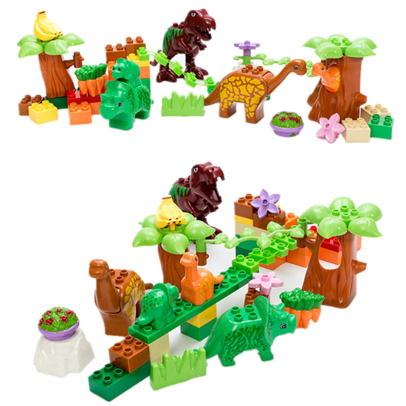 SERMOIDO 40Pcs/Lot Dino Valley Building Blocks Sets Large Particles Jurassic World Animal Dinosaur World toys Bricks Duploe XD03