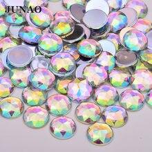 JUNAO-diamantes de imitación acrílicos de 18mm, 20mm y 25mm, cristales AB grandes, cristales de espalda plana de Strass sin necesidad de coser, piedras redondas, pegamento sobre gemas para ropa