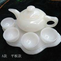 Afghanistan white jade stone tea wine teapot Gongfu tea glass ornaments