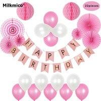 Milkmico Feliz Festa de Aniversário Decoração de Papel Kit Tecido Flores Do Partido Dos Miúdos Balão Bunting Bandeira Garland Decorações Suprimentos