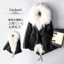 Luxury Fashion 2016 Winter Jacket Outerwear Large Real Fur Down Coat Black Warm Parka Thick Outerwear Hooded Female High Quality