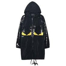 Melinda style 2015 new autumn loose-fitting coat long coat hoodies fashion sequined jackets decorated coat free shipping 1413