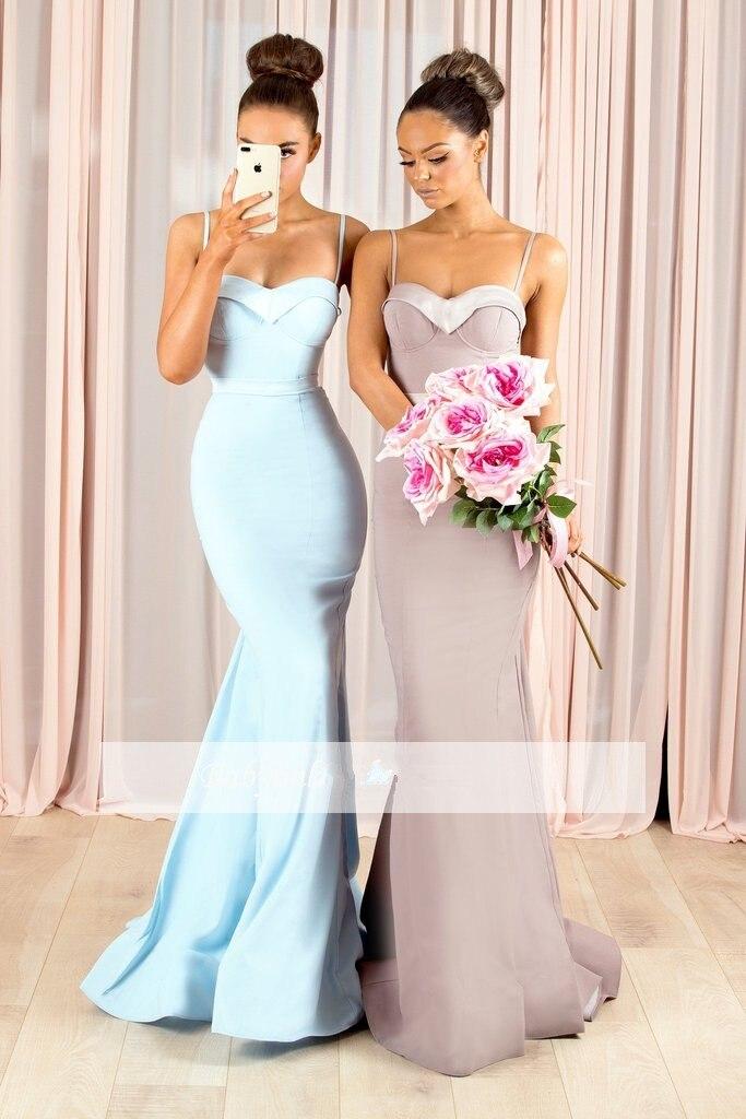 Blue 2019 Cheap   Bridesmaid     Dresses   Under 50 Mermaid Spaghetti Straps Long Wedding Party   Dresses   For Women