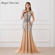 Angel Novias Luxury Long Crystal Evening Dress 2018