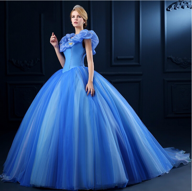 3f7a0462b57 Fairytale Bright Blue Sleevelss V-neck Ball Gown Organza 2016 New Design Wedding  Dress Court Train Lace Up Back robe de mariage