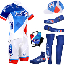 2016 New fdj cycling jersey quick dry polyester cycling shirts bike shorts set gel pad cycle Maillot Culotte full set