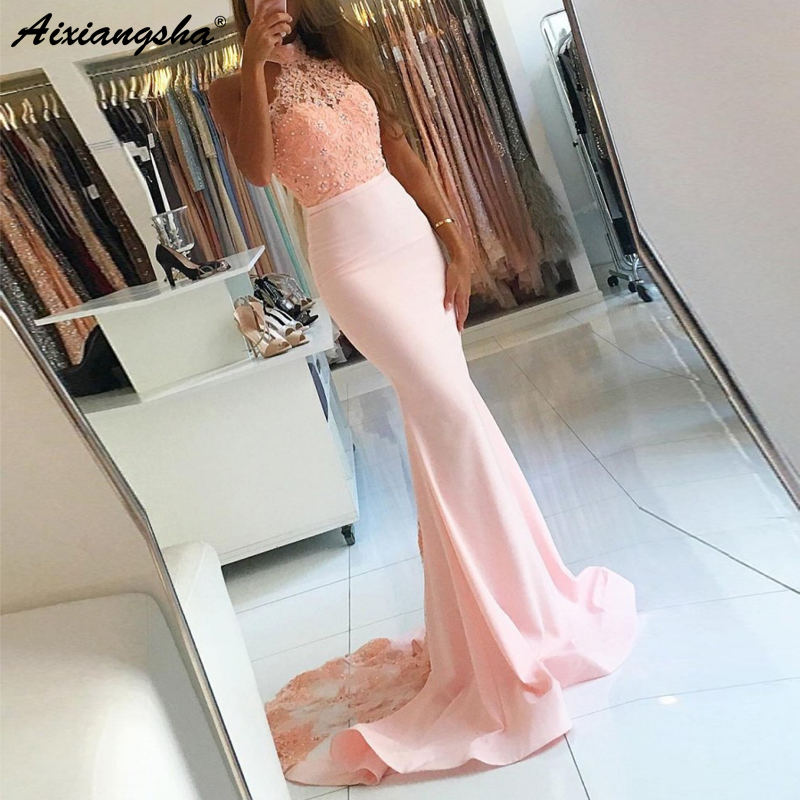 Pink Mermaid   Prom     Dress   vestido de formatura Halter Appliques Lace Beaded Evening Gown 2019 Backless   Prom     Dresses   Long