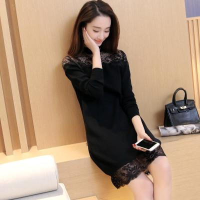 Nice Autumn Winter New Women Lace Shirt In The Long Section Of self cultivation Bottoming Shirt Knitted Sweater Coat Female