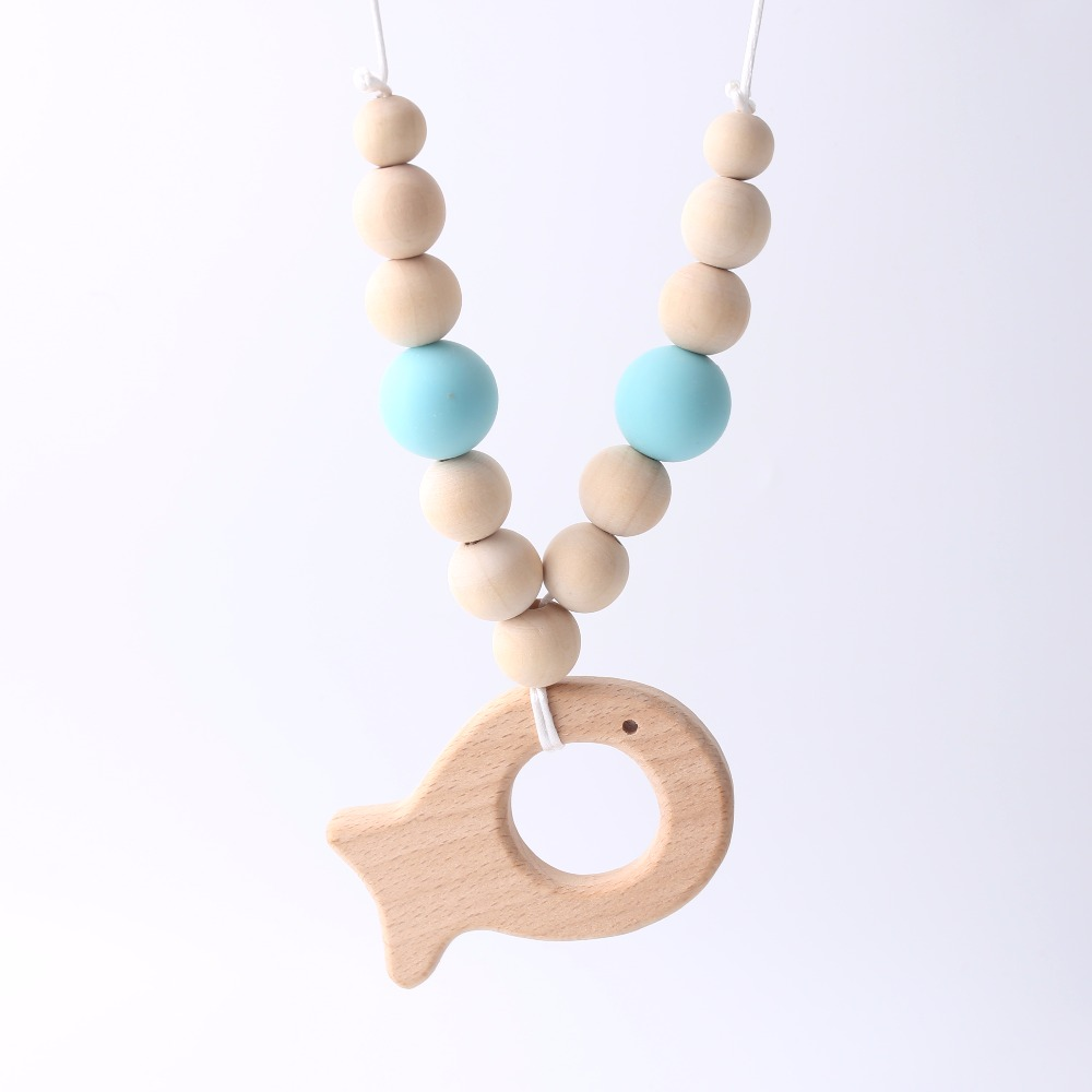 Simple Necklace With Fish Charm For Newborn Teething Toys Infant Chewable Non-toxic Natural Wood And Silicone Beads Baby Teether