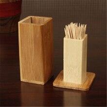 Бамбуковая коробка для зубочисток с крышкой квадратный бак Держатели Для Зубочисток контейнеры кухонные инструменты Портативный чехол для хранения Органайзер