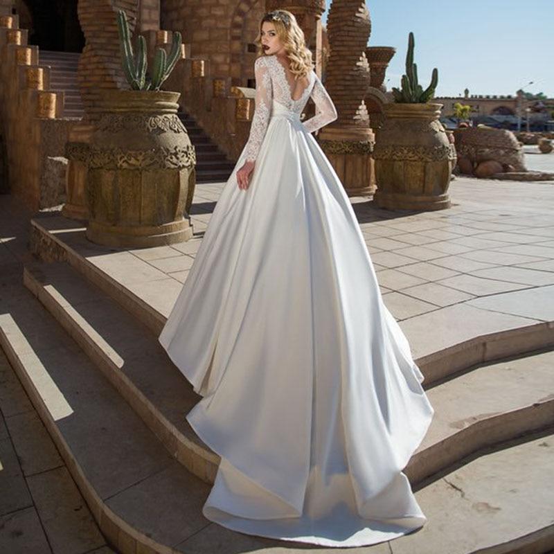 V ausschnitt Kleid Rock Plus Langarm Größe Satin Nach Appliques linie Maß A Top Lorie Hochzeit Kleider Spitze Brautkleid Braut qpnSSUW