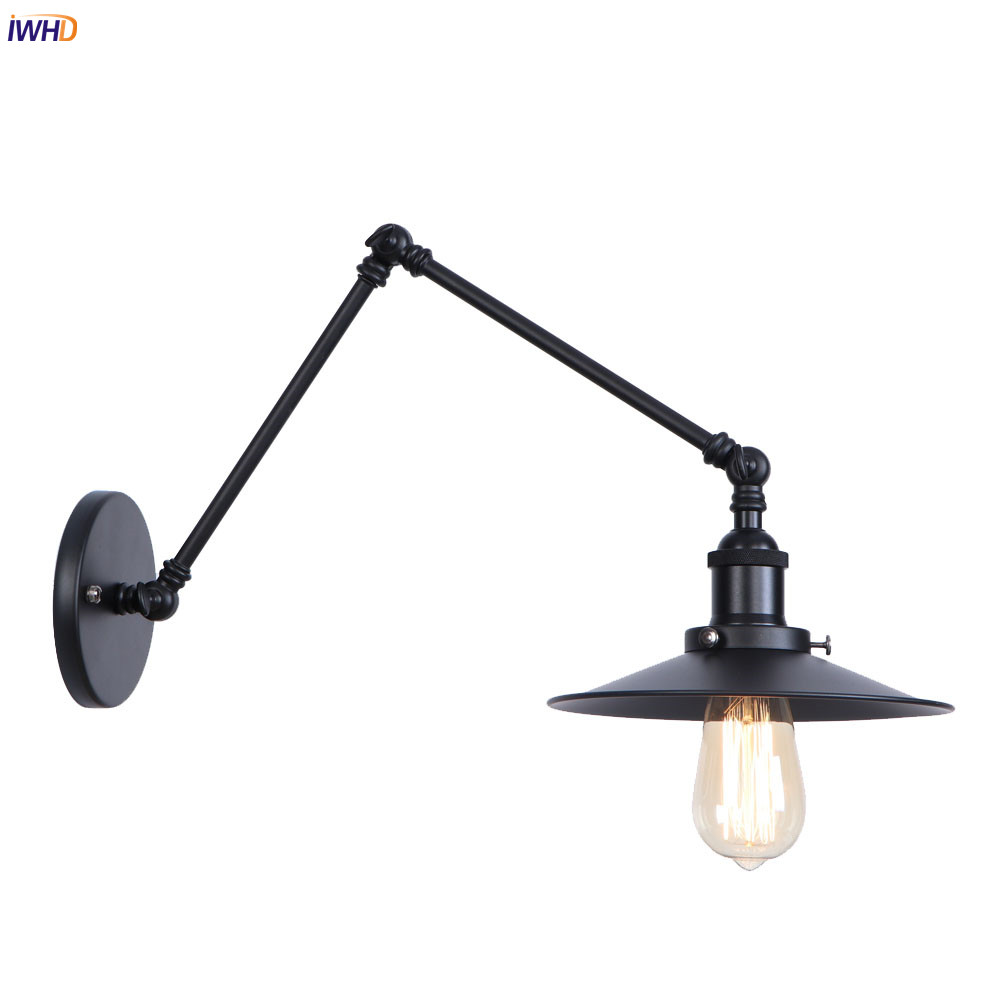 IWHD Black Retro LED Wall Light Fixtures Beside Stair Hallway Loft Industrial Swing Long Arm Wall Lamp Vintage Aplique Luz ParedIWHD Black Retro LED Wall Light Fixtures Beside Stair Hallway Loft Industrial Swing Long Arm Wall Lamp Vintage Aplique Luz Pared
