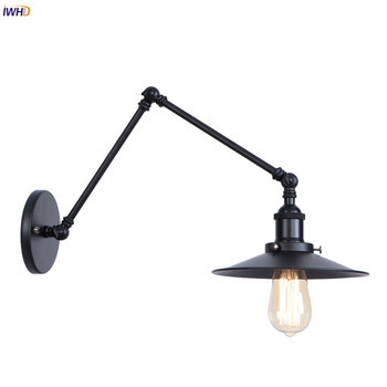 IWHD Black Retro LED Wall Light Fixtures Beside Stair Hallway Loft Industrial Swing Long Arm Wall Lamp Vintage Aplique Luz Pared iwhd style loft industrial wall lamp vintage adjustable swing long arm wall light fixtures glass ball lampshade