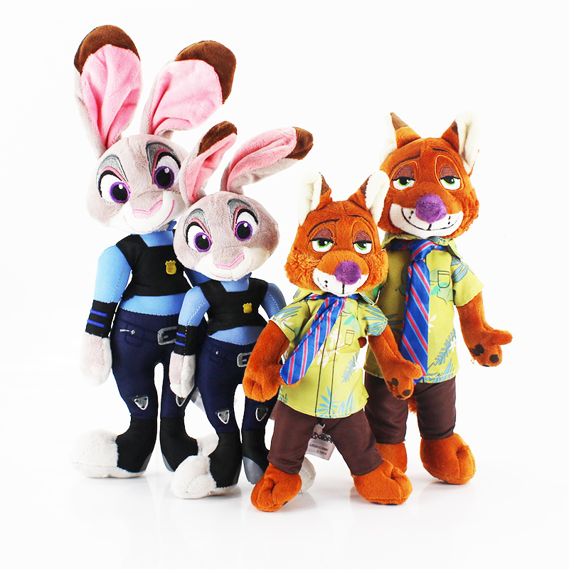 21-37cm 3 Sizes Zootopia Plush Toy Fox Nick Wilde Rabbit Judy Hopps Cartoon Movie Animal Dolls Toys XMAS Gift For Kid Children
