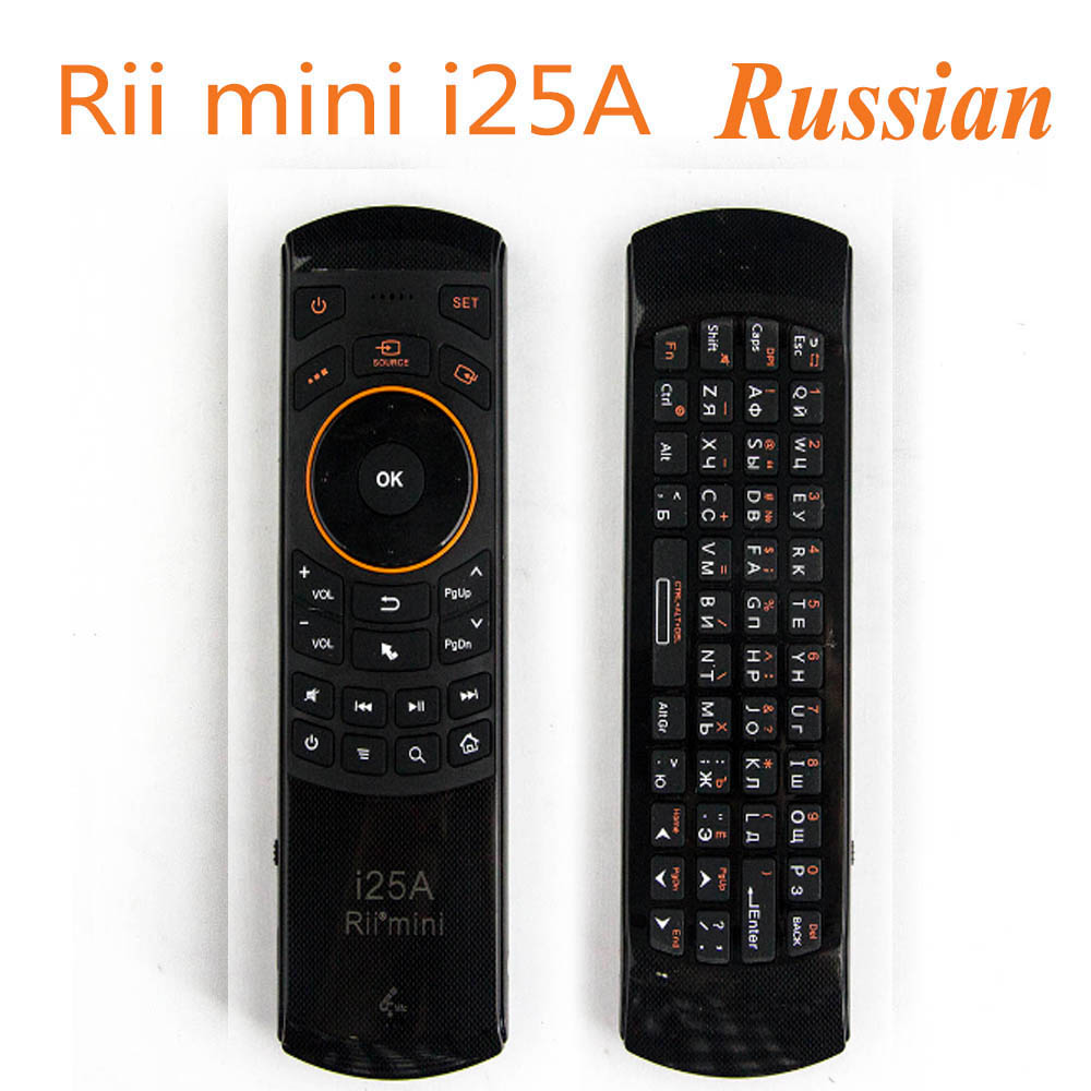 Rii i25A Mini 2.4G Wireless Fly Air mouse Russian English Keyboard With Earphone Jack For PC HTPC IPTV Smart Android TV Box