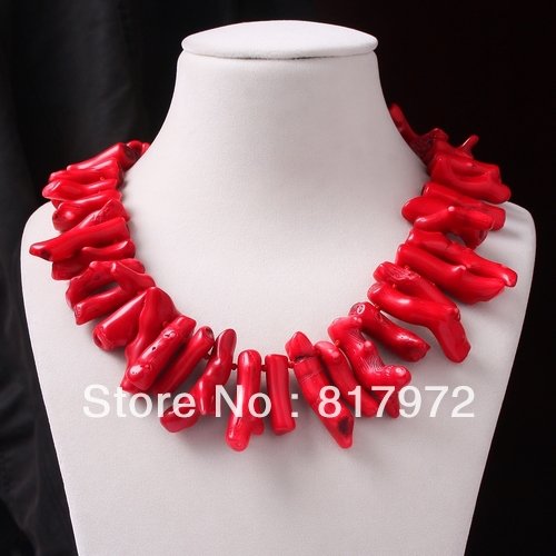 Glamour Unique Design Chunky baroque Red Coral Handmake Necklace Simple Style Woman gift