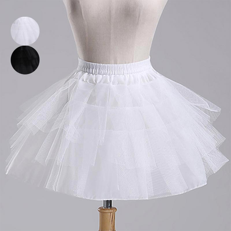 Fashion Girls Princess Skirt Solid Color Elastic Waist Bridesmaid Wedding 4 Layer Underskirt Girl Tutu Mesh Skirts doorbell villa