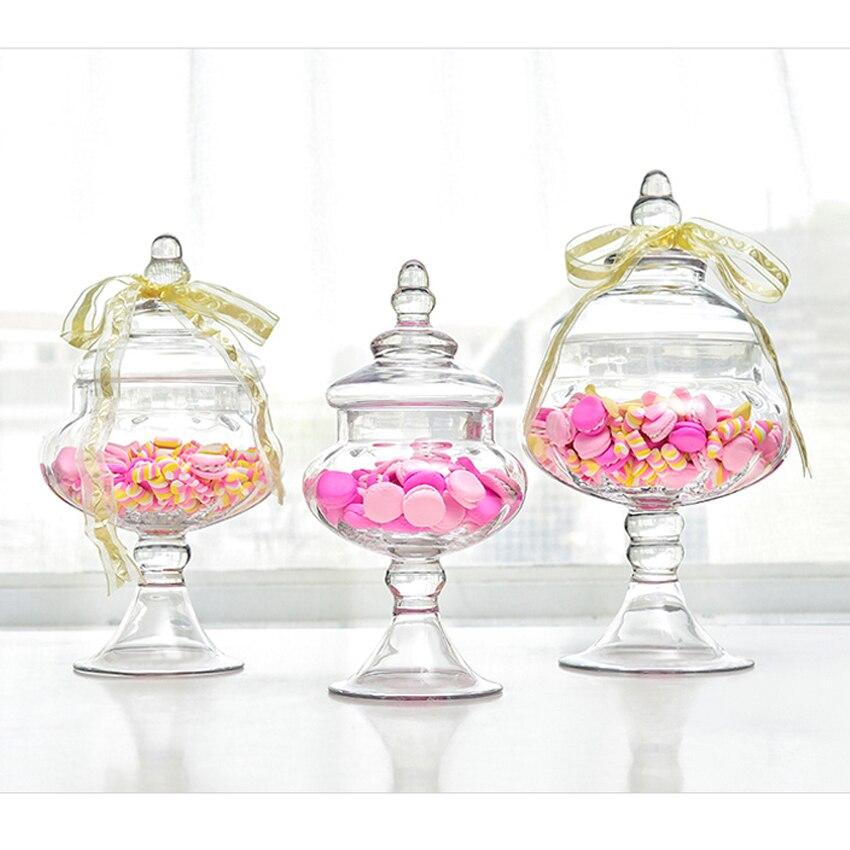 European style transparent Glass bottles dust proof lid storage cake stand dessert candy jars tea caddy
