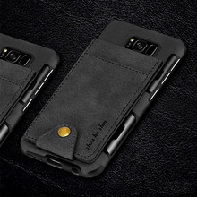 Luxury Wallet Case for Samsung Galaxy S8 Canvas Back Cover High Quality Flip Card Slots Phone Cases for Samsung Galaxy S8 Plus