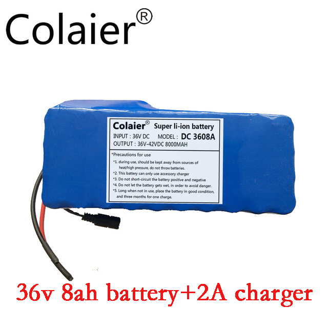 цены Colaier 36V 8AH bike electric car battery scooter high-capacity lithium battery +42V 2A Charger