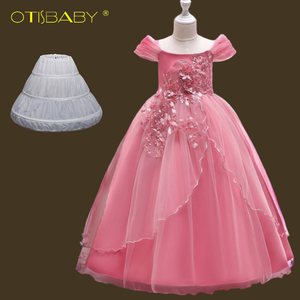 Children Birthday Princess Formal 12 13 14 15 Year Old Girls Graduation Dresses Boutique Pink Floral Girls Champagne Gown Prom(China)