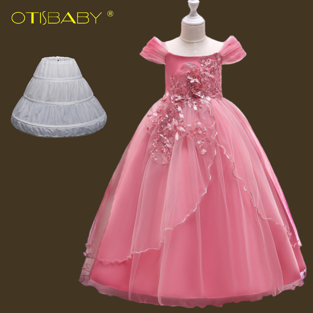 Children Birthday Princess Formal 12 13 14 <font><b>15</b></font> <font><b>Year</b></font> <font><b>Old</b></font> <font><b>Girls</b></font> Graduation <font><b>Dresses</b></font> Boutique Pink Floral <font><b>Girls</b></font> Champagne Gown Prom image