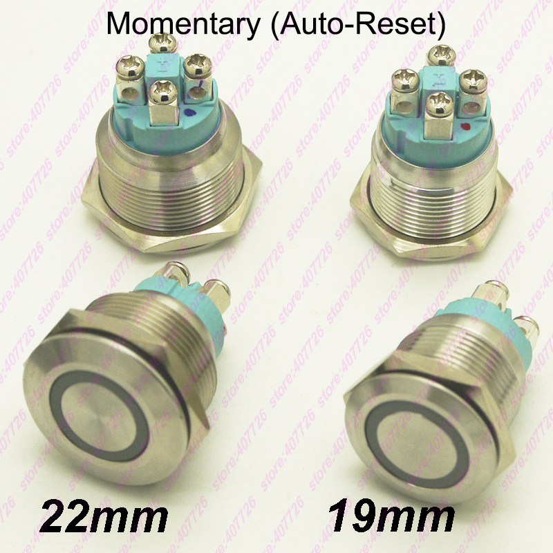 50PCS 19MM 22MM Stainless Steel Metal Button Switch illuminated Ring LED 12V Momentary Push Not Fixed