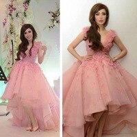 Румяна Розовый Высокий Низкий Вечернее Платье Принцесса Короткие Платья Выпускного Вечера Короткий Передний Долго Назад 3D Цветы Арабский
