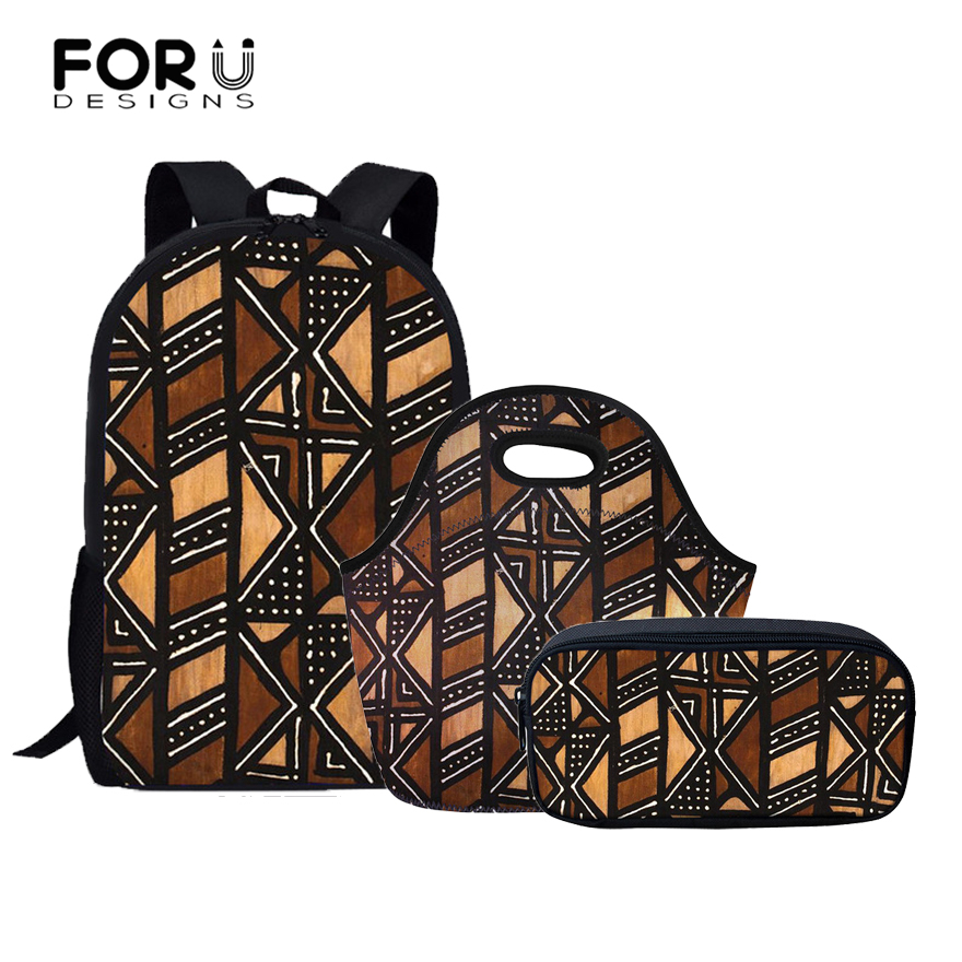 FORUDESIGNS 3Pcs/set Children Girls School Bags African Traditional Printing Bookbag for Kids Students School Backpack Escolares