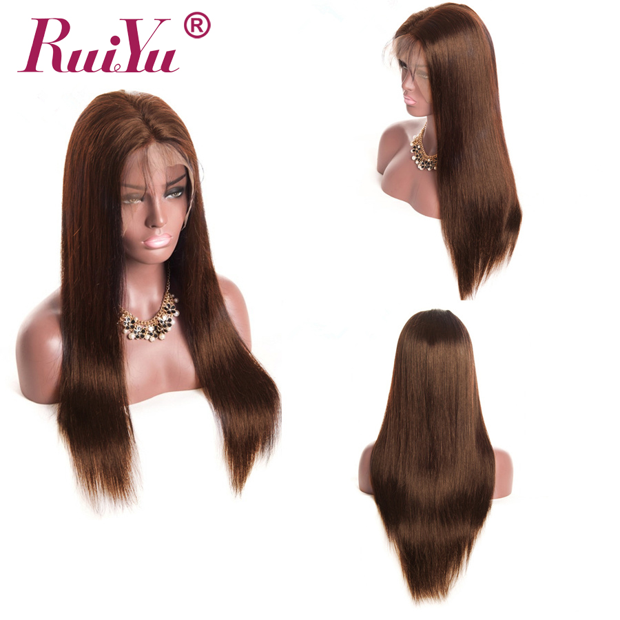 13x4 Lace Front Human Hair Wigs Light Dark Brown Lace Front Wig RUIYU Straight Wigs Remy Wigs With Baby Hair-in Human Hair Lace Wigs from Hair Extensions & Wigs    1