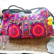 Hot Canvas Ethnic Bag Fancy Flower Embroidery Handbag Women