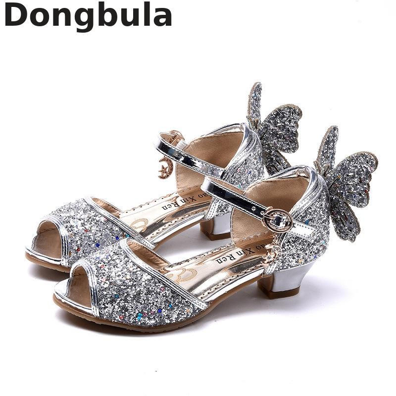 Summer Children Sandals For Girl High Heels Sandals Party Weddings Girls Princess Shoes Kids Glitter Leather Shoes Student Dance