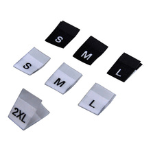 Stock high density damask size labels for clothes S M L XL XXL size tags for clothing center fold size label with soft edge цена 2017