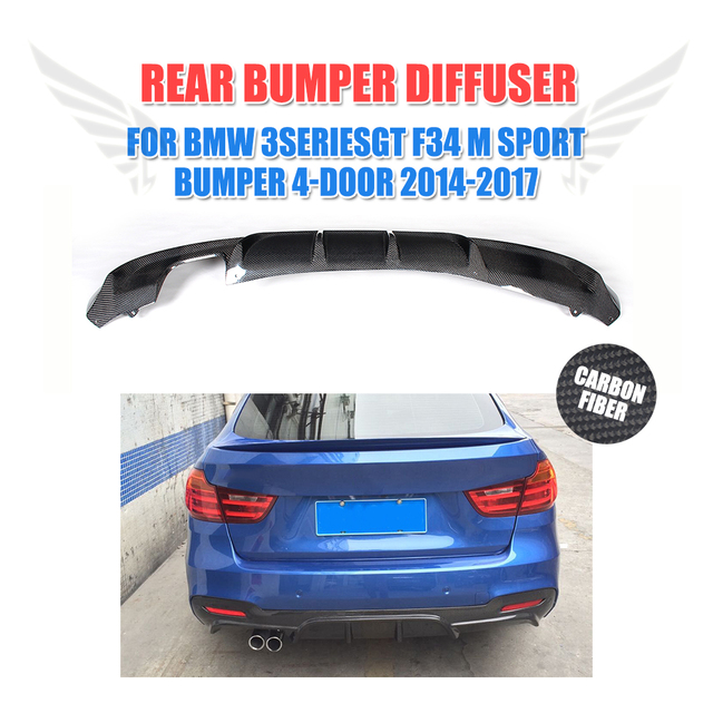 Carbon fiber Rear Bumper Lip diffuser Spoiler for BMW 3 series GT M Sport bumper 4Door14-17 Single exhaust two outlet FRP