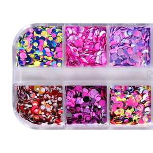Image 3 - 1Set Colorful Nail Glitter Sequin Dust Round Shiny Nail Flakes Mixed Size UV Gel Manicure Tips Paillette Nail Art Decor LAD 1