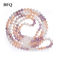 BFQ 2018 Sale Hot Long Pearl Necklace Natural Freshwater Pearl Fine Jewelry For Women S Weddings