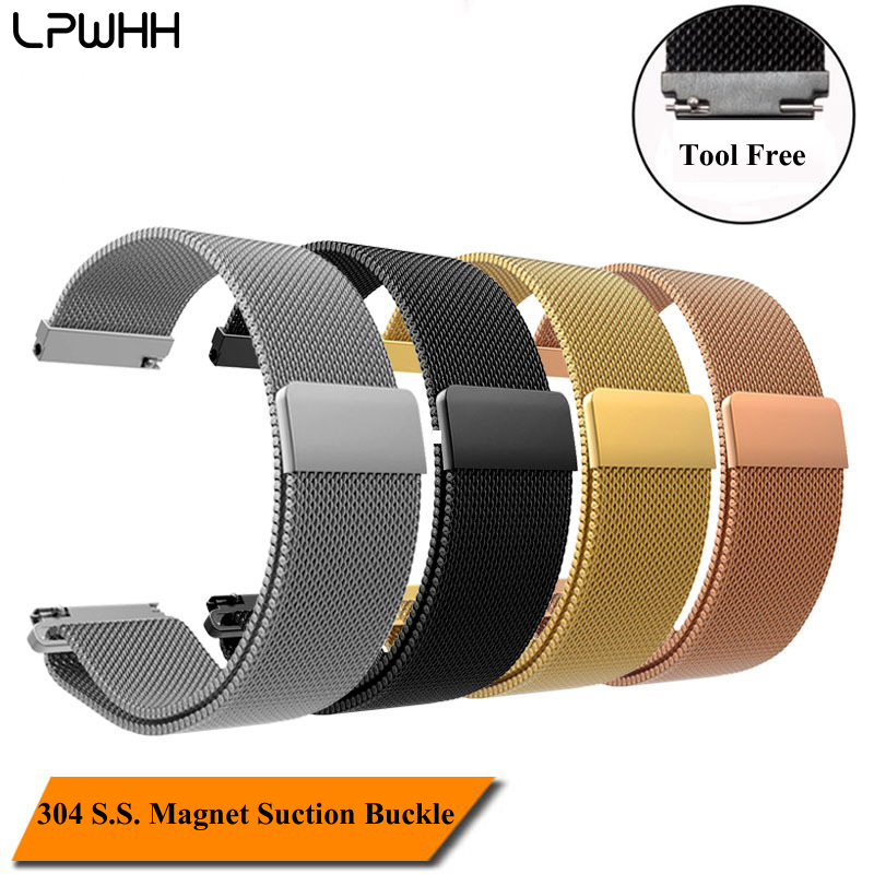 LPWHH Stainless Steel Milanese Strap For Smart Watch Loop Watch Band Bracelet 14 16 18mm 20mm  22mm Power Magnet Suction BuckleLPWHH Stainless Steel Milanese Strap For Smart Watch Loop Watch Band Bracelet 14 16 18mm 20mm  22mm Power Magnet Suction Buckle