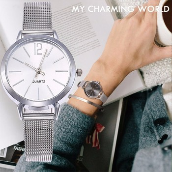 New Fashion Stainless Steel Silver Gold Mesh Watch Unique Simple Watches Casual Women Men Quartz Wristwatches Clock Hot Sale