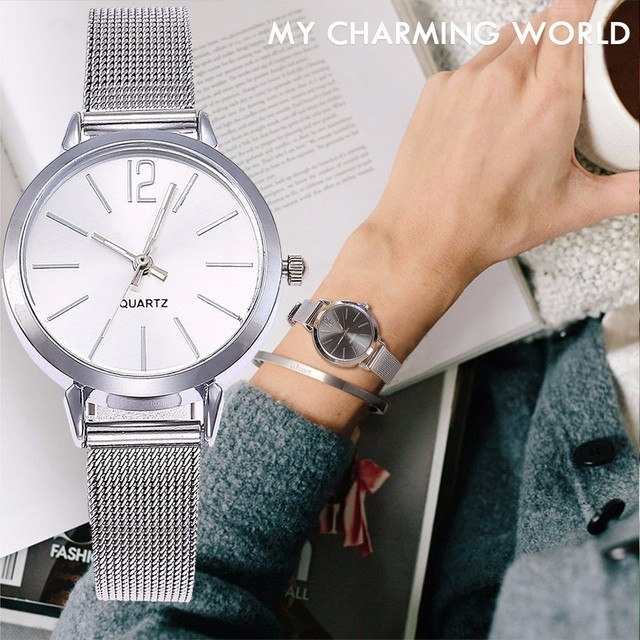 New Fashion Stainless Steel Silver Gold Mesh Watch Unique Simple Watches Casual