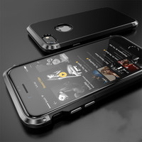 New for iPhone7/7plus Case Luxury Metal Bumper+PC Backplane Full Double Protection Shield Cover Case for iPhone7 7plus Phone Bag