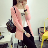 2016 New Women S Spring Autumn Candy Colored Wild Loose Knit Mohair Cardigan Jacket Girls Solid