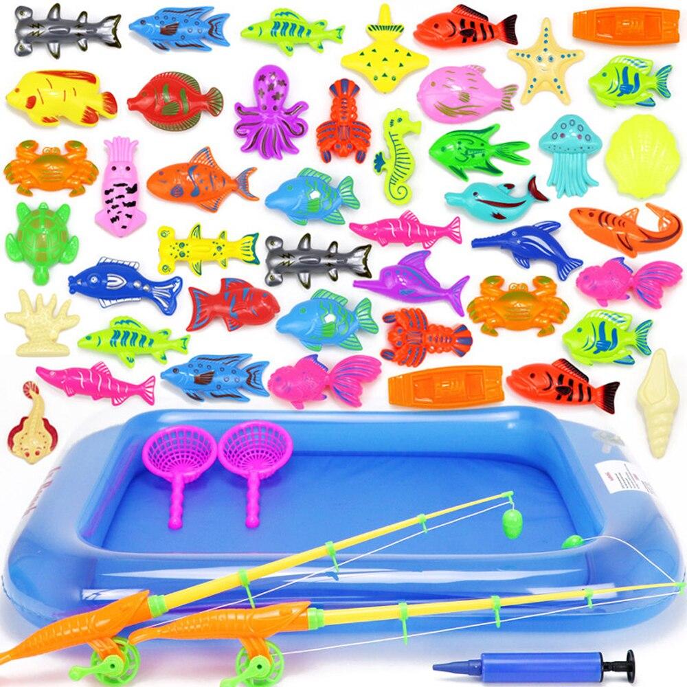 18-52 adet Çocuklar Manyetik Balıkçılık oyuncak seti ile şişme havuz Net Mıknatıs Balıkçılık Çubuk Komik Klasik Oyuncaklar Çocuklar için Hediye