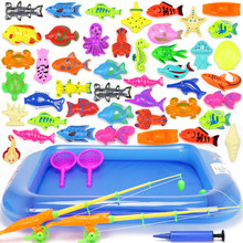 18-52pcs Kids Magnetic Fishing Toys Set with Inflatable Pool Net Magnet Fishing Rod Funny Classic Toys for Children Gift(China)
