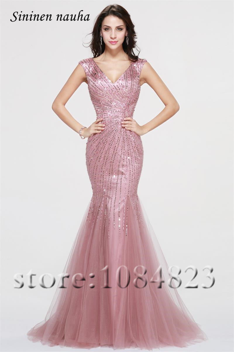 Dubai rosa De noche largo Prom Vestidos con cuello en V con cuentas ...