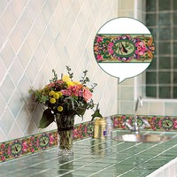 Creative Self Adhesive Baseboard Waterproof LivingRoom Bathroom Retro Floral Bird Pattern Waistline Wall Stickers YX002