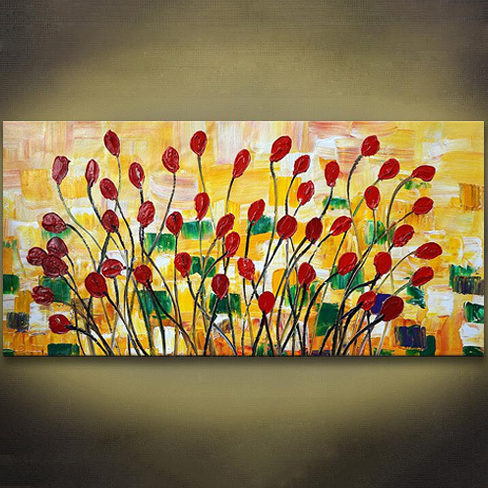 Unframed Palette Knife Painting Abstract Flower Handpainted Oil ...