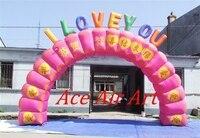 Tròn Màu Hồng Inflatable Valentine Arch cho Lối Vào